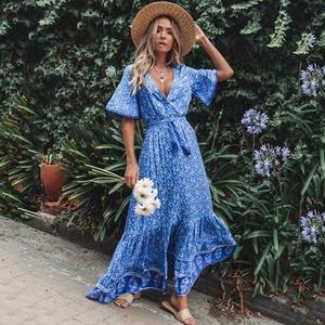 Image 4 - TEELYNN robe maxi Vintage, imprimé Floral, sexy, décolleté en v, ample, style Hippie, style boho, collection 2019