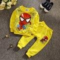 ST186 Chicos 2 unid. araña ropa de bebé conjunto ropa de los muchachos traje de Batman niños deportes set de manga larga ropa de los cabritos al por menor
