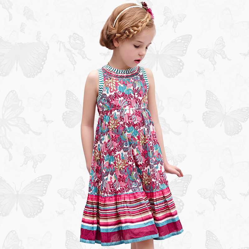 W.L.Monsoon Brand Children's clothing Girls dress Summer dress New printing sleeveless Dress Big pendulum Puff Princess dress женское платье dress new brand 2015 thetest summer dress