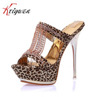 2015 New Summer Luxurious Rhinestone Open Toe Slides Sexy Woman Party Thin High Heels Lady Slides