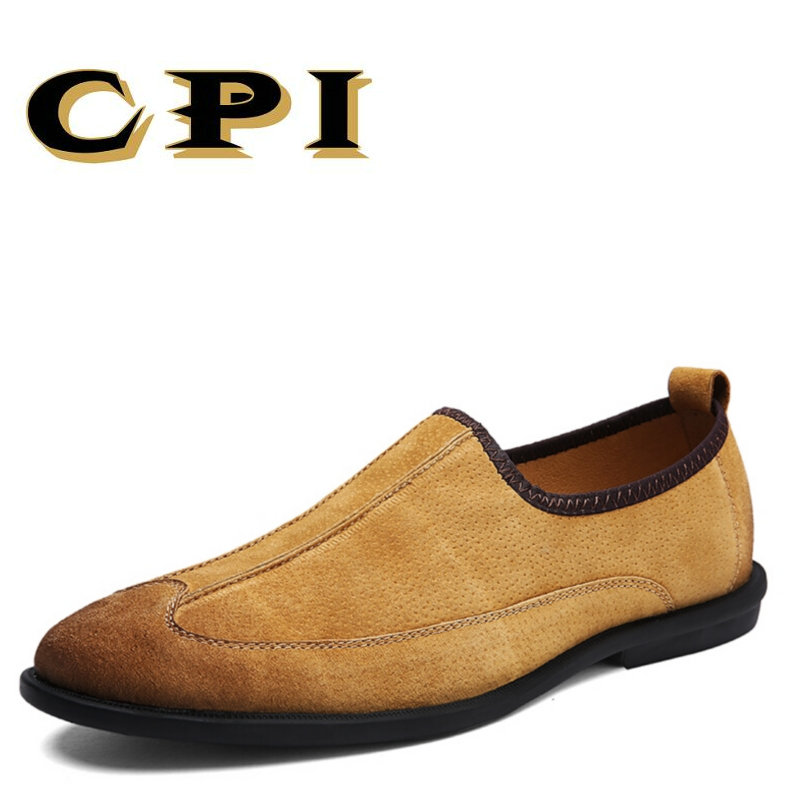 CPI 2018 New Mens Shoes Genuine Leather Manual Sewing Men Loafers Driving Moccasins Slip on Leather Casual Shoes Men PP-196 pl us size 38 47 handmade genuine leather mens shoes casual men loafers fashion breathable driving shoes slip on moccasins
