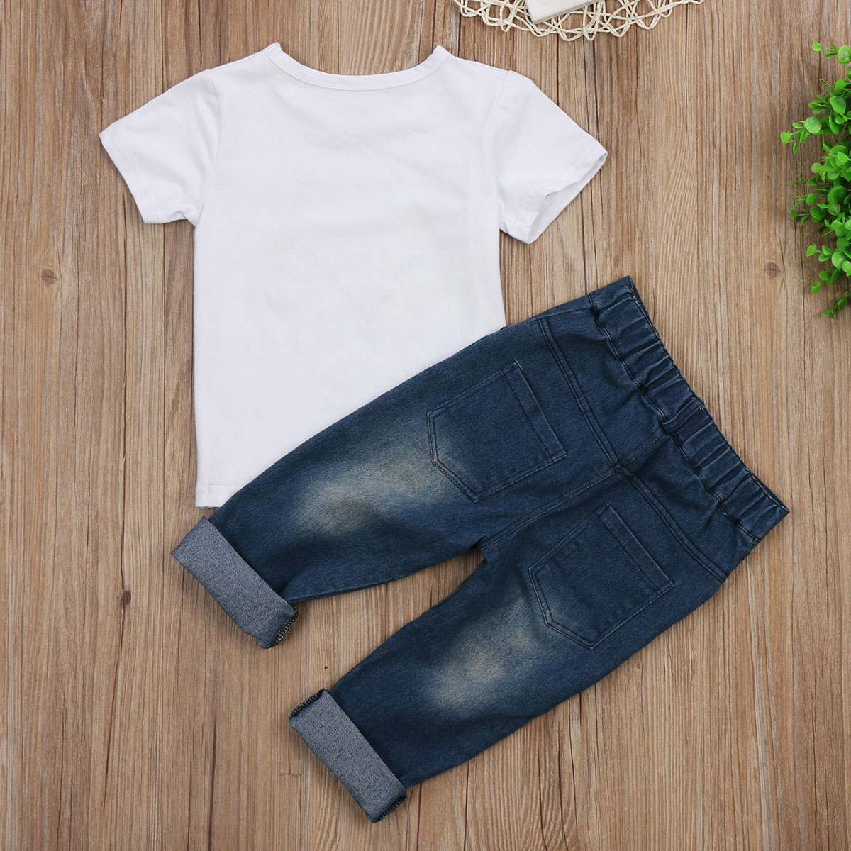 2017 Hot Toddler Kids Boys Outfits Short Sleeves Summer Clothes Tops Mom N Bab Long Pants Blue Polkadot Size 4t T Shirt Demin Jeans Denim 2pcs Set In Clothing Sets From Mother