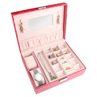 Storage box Jewelry organizer European creative gift packing box wooden leather Earring boxs D