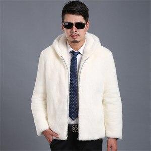 Image 4 - 2018 Новое замшевое пальто мужская приталенная Мужская норковая Меховая куртка с капюшоном и отворотом Мужская куртка большого размера S XXL XXXL 4XL 5XL куртка из искусственного меха