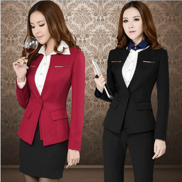 3075001eec8 2014 Newest Plus Size 4XL Professional Business Women Work Wear Suits Career  Sets Office Outerwear With Blazer Size S-XXXXL
