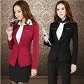 2014 mais novo Plus Size 4XL Business Professional Women Work usam ternos carreira define escritório casacos com Blazer tamanho S-XXXXL