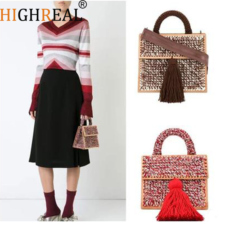 New 2019 Handmade Wool Winter Tote Bags Soft Style Vintage Retro Chic Fabric Green Book Wood Top Handle Handbag Quality deer tote purse round top handle christmas handbag soft fabric durable purses for women