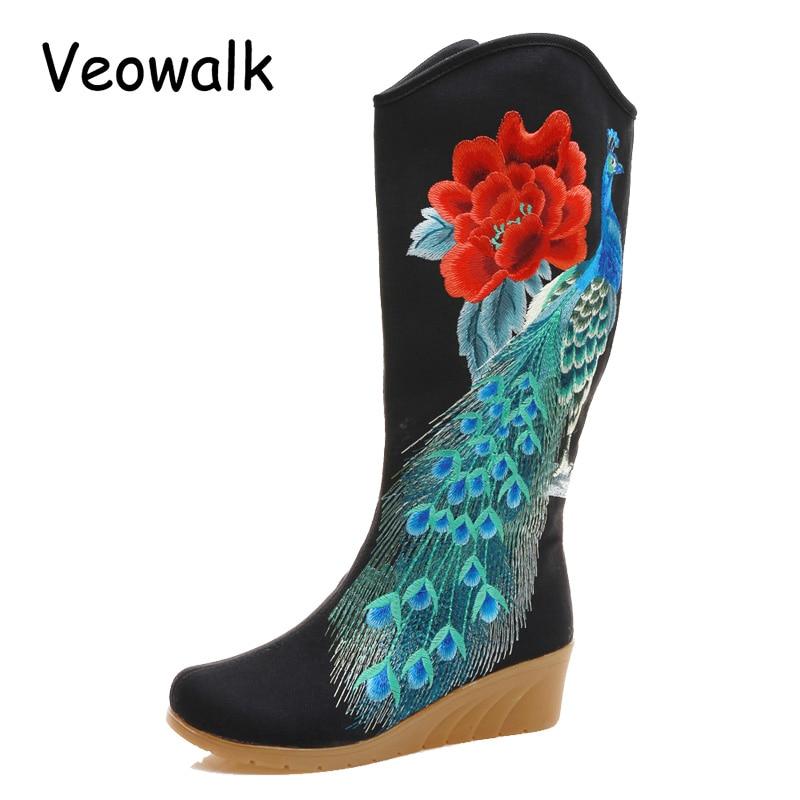 Veowalk Peacock Embroidered Women s Canvas Mid Boots Zip up Hidden Wedges High Heel Ladies 30cm
