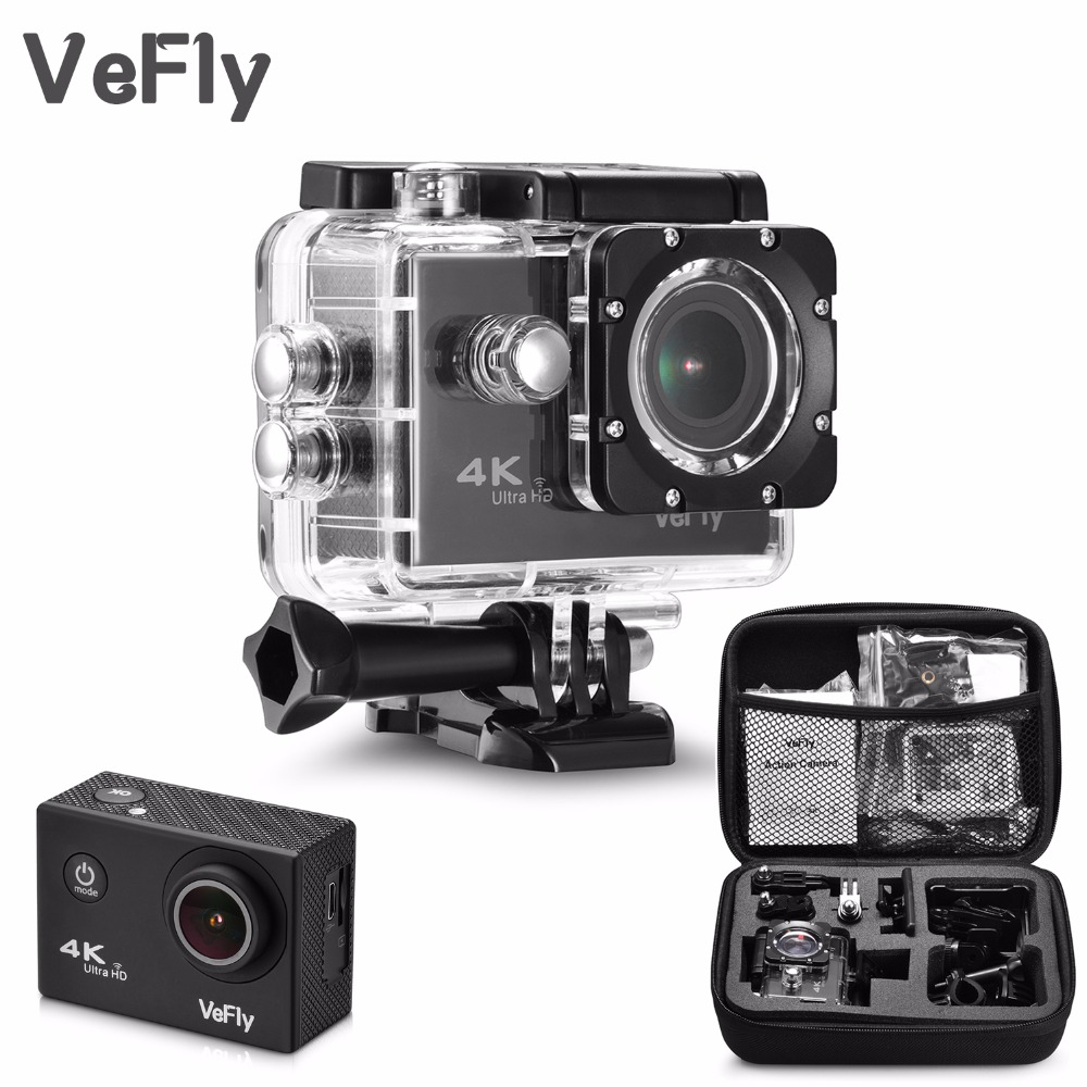 VeFly 2.0 inch Screen Wifi 1080P 4K Waterproof Sports Action Camera, black portable 16MP Sport Cam Go Pro Accessories case set battery dual charger bag action camera eken h9 h9r 4k ultra hd sports cam 1080p 60fps 4 k 170d pro waterproof go remote camera