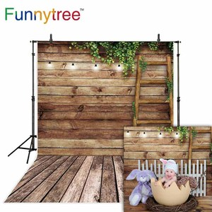 Image 2 - Funnytree Spring photo background baby staircase wood board ladder leaf photography backdrop photocall Easter photophone