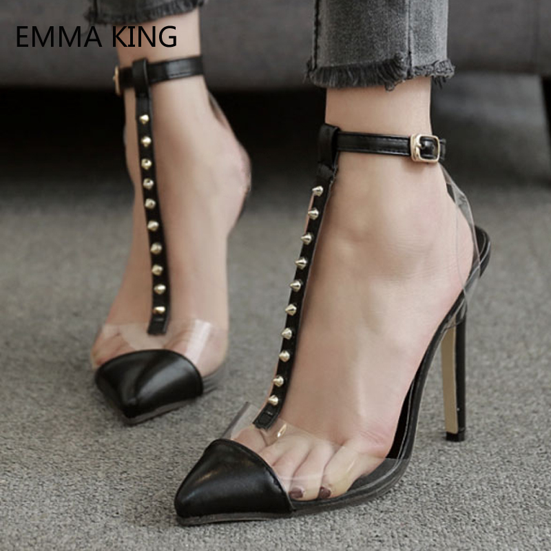 Black High Heels Women Shoes Pointed Toe T Type Rivets Ankle Strap Pumps Ladies Shoes Leather Studs Thin Heels Tenis FemininoBlack High Heels Women Shoes Pointed Toe T Type Rivets Ankle Strap Pumps Ladies Shoes Leather Studs Thin Heels Tenis Feminino
