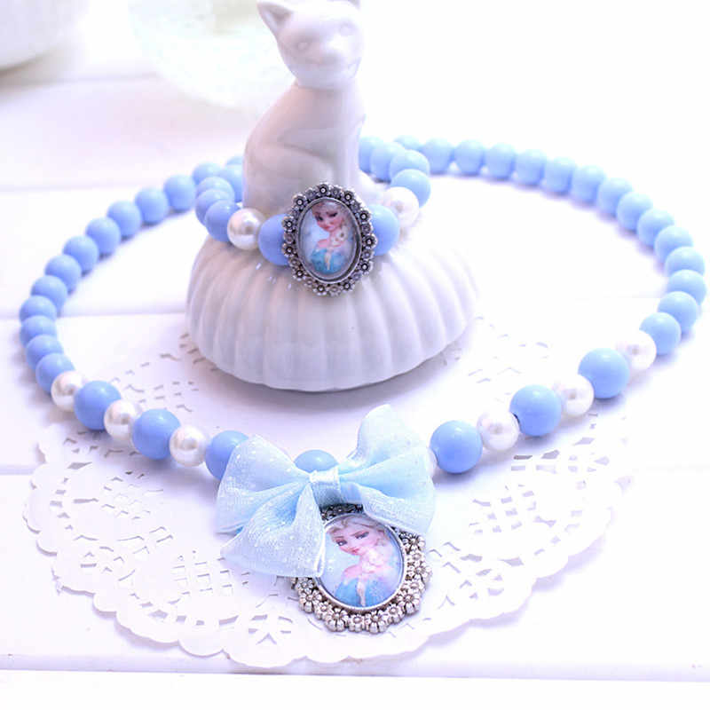 Latest Princess Beads Necklace Bracelet Jewelry Set Christmas Gift for Girls Baby Child Kids Jewelry Accessories Collier Choker
