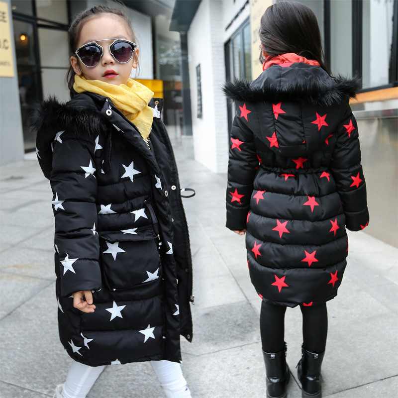 b5625856e US $33.59 20% OFF Girls Winter Long Coat 2019 Kids Cotton Padded Jacket  Thicken Warm Winter Parkas Girls Clothes Stars Print Children Outerwear-in  ...