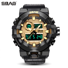 SBAO Men Sports Watches Dual Display Analog Digital LED Quartz Clock Waterproof Wristwatch Relogio Masculino Military Watch Male weide fashion led digital quartz watches men military sports watch week display male wrist watches time clock relogio masculino