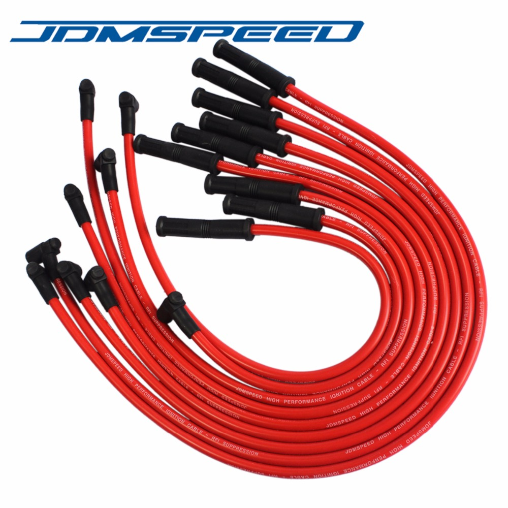 Free Shipping-JDMSPEED New Spark Plug Wires Set 90 to Straight Fit For  Chevrolet SBC BBC 350 383 400 454 V8