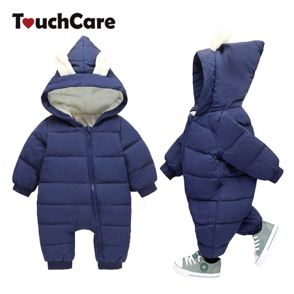 Touchcare Baby Warm Cute Rabbit Ear Rompers Girls Boys Thick Warm Hooded Jumpsuit Newborn Winter Overalls Infant Pajama Costume puseky 2017 infant romper baby boys girls jumpsuit newborn bebe clothing hooded toddler baby clothes cute panda romper costumes