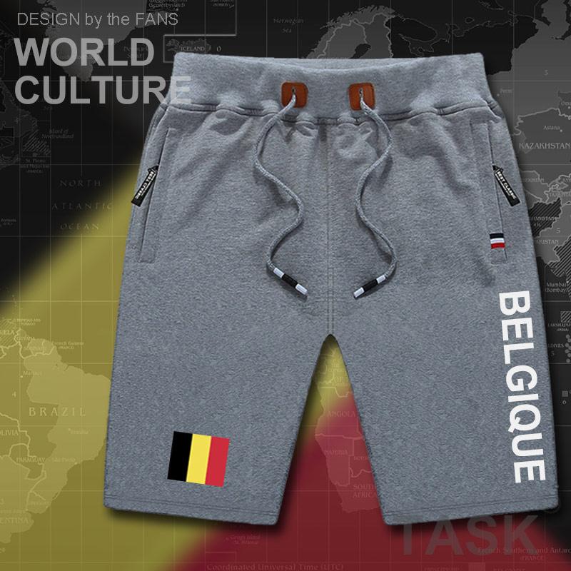 Belgium Mens Shorts Beach New Men's Board Shorts Flag Workout Zipper Pocket Sweat Bodybuilding 2017 Cotton Brand Belgique BEL