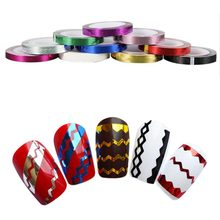 Popular 10 Pcs/Roll Nail Art Waves Striping Tape Line DIY Tips Decals Decoration Sticker