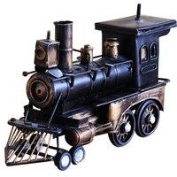 Vintage Iron Train Home Decor Desktop Ornaments Antique Locomotive Model Crafts Room Decoration Retro Steam Car