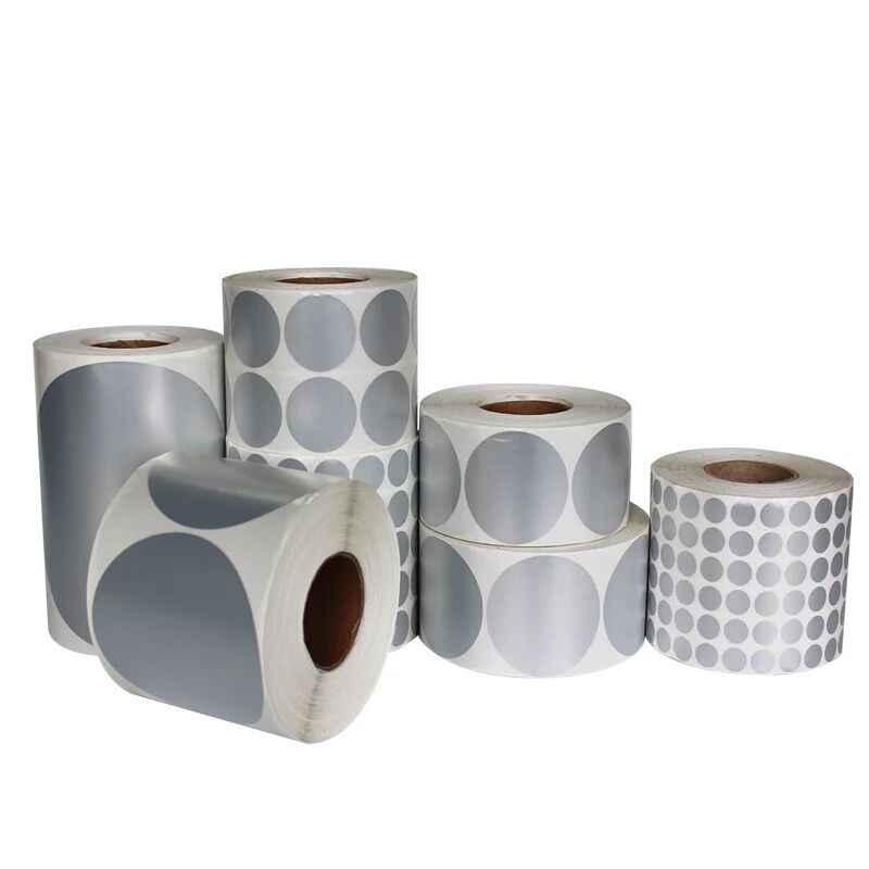Sliver Bulat PET Round Sticker Roll, 40 Mm Core 1 Roll, Lebar 40 ~ 100 Mm, matt Dilapisi Polyester Film Kode Bar Lingkaran Stiker Segel