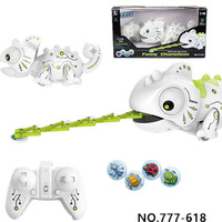 Remote Control Chameleon Pet Toys Intelligent Predation Robot With Lights For Children Kids Birthday Gift RC Eat Insect Animals