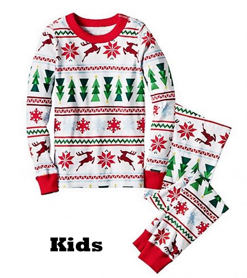 e1355c9f17 Hot Family Matching Christmas Family Pajamas Set Snowflake Tree Printed  Adult Baby Kids Long Sleeve Nightwear Pyjamas Costume