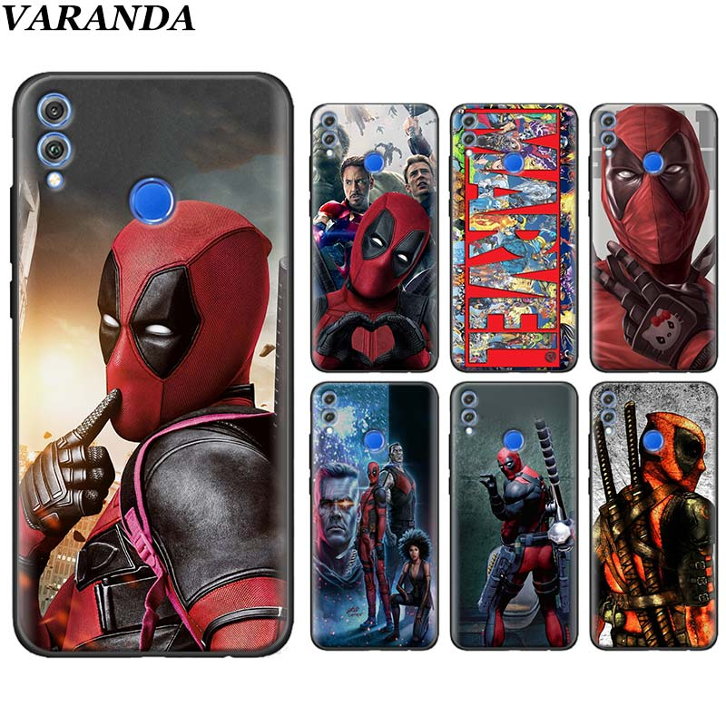 Super Cool <font><b>Marvel</b></font> Deadpool Silicone <font><b>Cases</b></font> for <font><b>Huawei</b></font> Honor 20 Lite 10 20 Pro Honor Y6 <font><b>Y7</b></font> Y9 <font><b>2019</b></font> 8X 8A 8C 8S Cover Coque image