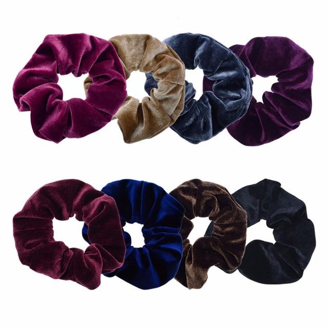Luxury Elastic Hair Bands Soft Velvet Hair Scrunchie Ponytail Donut Grip Loop Holder Stretchy Hair Band Women Hair Accessories 4