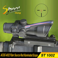 AO 1002 Shoot Thing Airsoft ACOG 4X32 Fiber Source Red Illuminated Scope 20mm Weaver Picatinny Rail