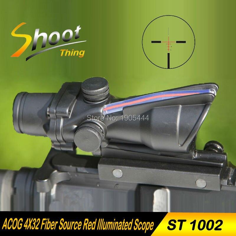 1002 Shoot Thing Airsoft ACOG 4X32 Fiber Source Red Illuminated Scope 20mm weaver picatinny rail mounts Tactical Riflescope