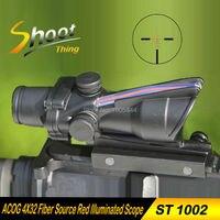 AO 1002 Shoot Thing Airsoft ACOG 4X32 Fiber Source Red Illuminated Scope 20mm Weaver Picatinny Rail