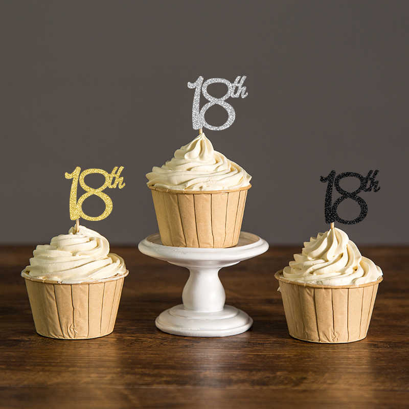 18th Birthday Cupcake Toppers Silver Black Gold Glitter Eighteen Party Decoration Favors Cake Decorations