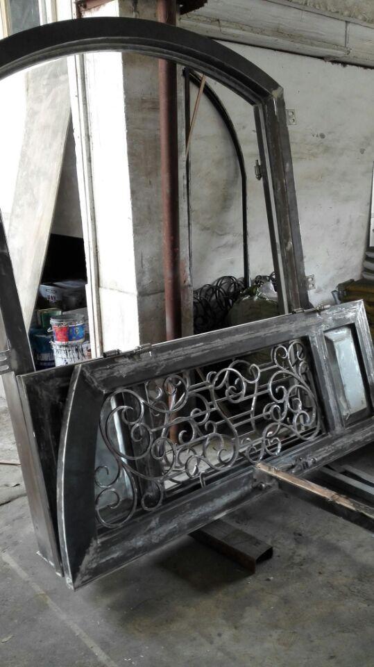Portes en bois et fer forgé portes avant en bois avec verre et fer forgé - 5