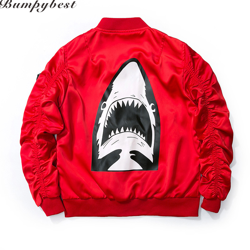 New Autumn Jacket Black Red Shark Ma1 Bomber Jacket Men Streetwear Coat US Size XXS-XL