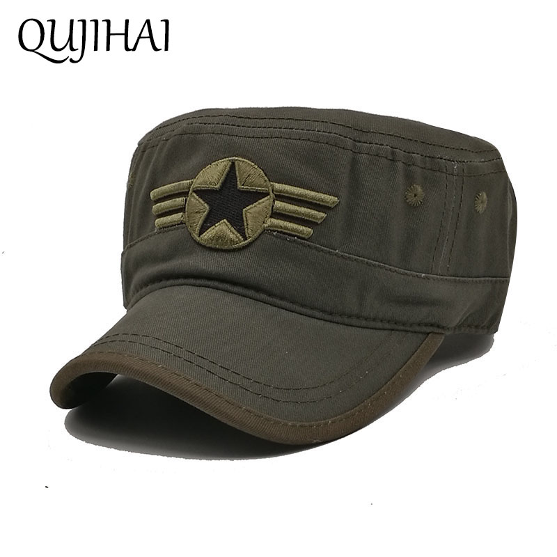 QUJIHAI The US Air Force Flat Camouflage Cap Men Fitted Hat Cotton Army Snapback Caps Five-Pointed Star Bone Gorra бейсболка kangol cotton twill army cap black bk001 l xl