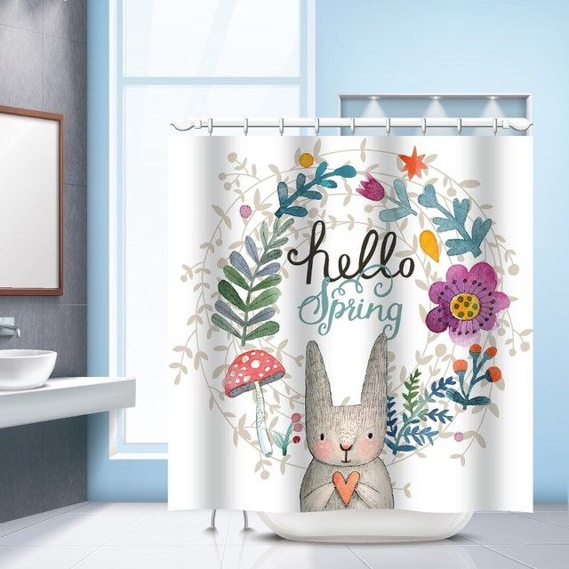 Delicieux Non Slip Carpet Polyester Shower Curtains Bath Mat Set Hello Spring Rabbit  Waterproof Bath Curtains
