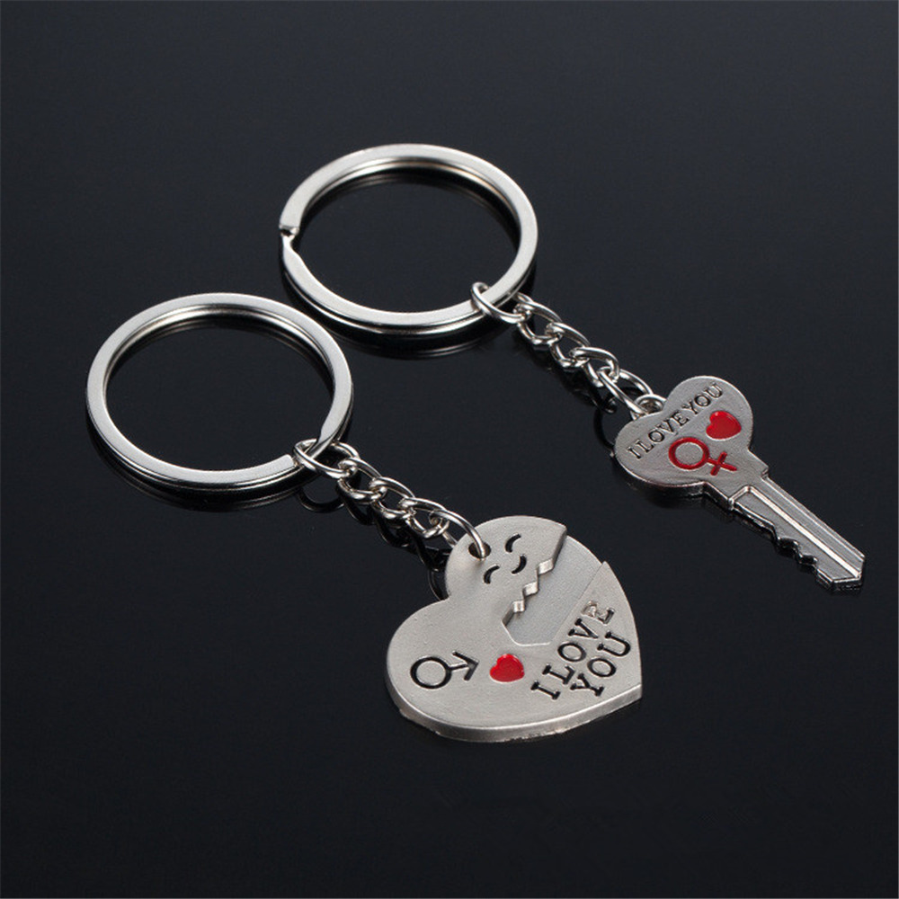 KISS WIFE 2016 Hot Sale I LOVE YOU Silver Heart Keychain Ring Keyring Key Chain Lover Romantic Creative Birthday Gift creative handcuffs style keychain silver