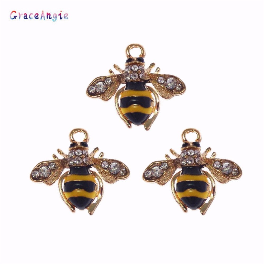 GraceAngie 2pcs Bee Animal Jewelry Pendant Necklace Bracelet Chamrs Crafts Handmade Crafts Earrings Pendant Fashion Crystal Dec
