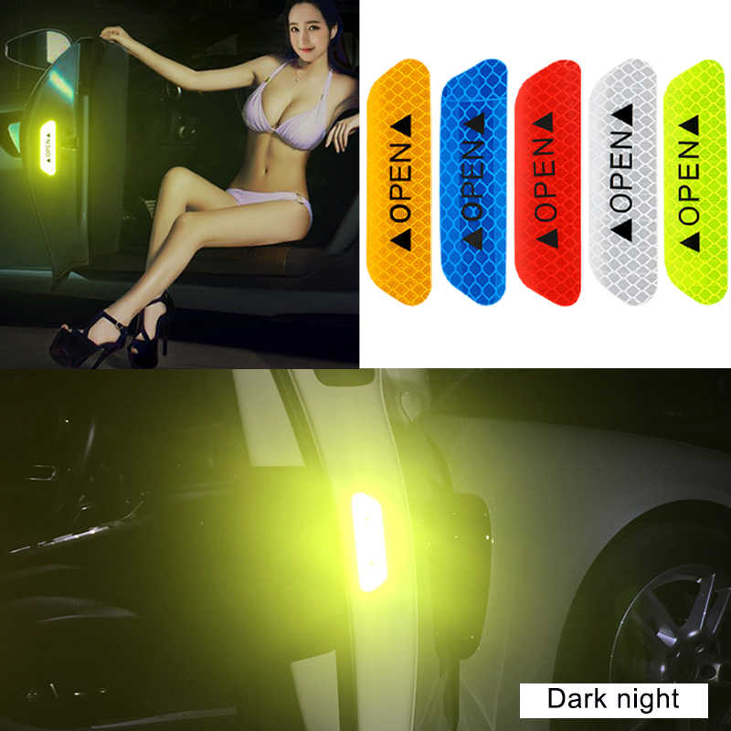 4pcs Car door OPEN safety anti-collision warning reflective stickers For Lada Kalina Granta Priora Niva Largus Car accessories