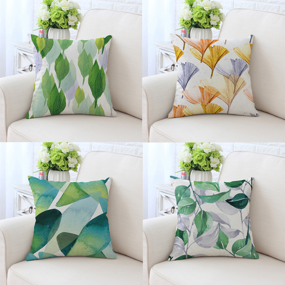 2017 Spring Season Green Style Design Printed Cushion Cover WaterColor Plant Pattern Pillow Case For Sofa Couch 45x45cm