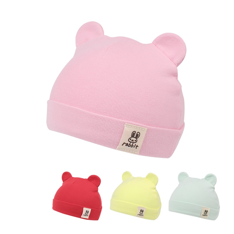 Cute Newborn Baby Hat Cotton Soft Infant Beanie Bear Ears Newborn Beanie Hat Solid Baby Hat For Girls Spring Baby Boys Clothing
