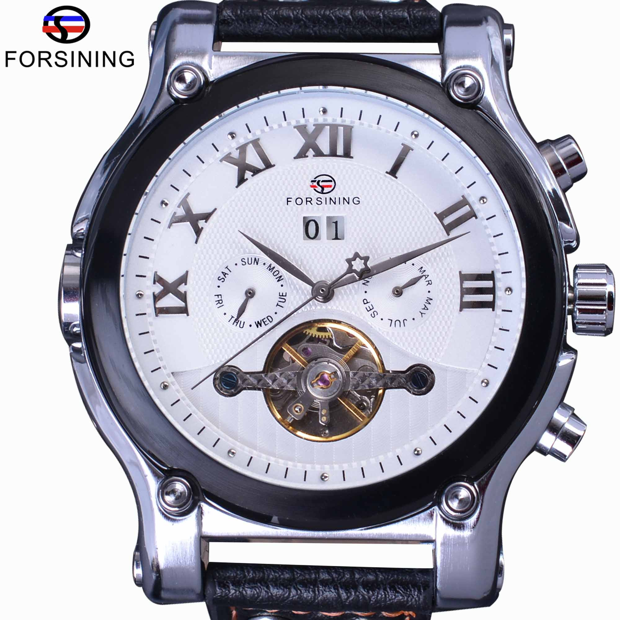Forsining Fashion Casual Calendar Tourbillion White Dial Genuine Leather Men Watches Luxury Top Brand Automatic Mechanical Watch цена