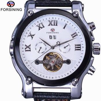Forsining Fashion Casual Calendar Tourbillion White Dial Genuine Leather Men Watches Luxury Top Brand Automatic Mechanical Watch корпус thermaltake versa h18 ca 1j4 00s1wn 00 black