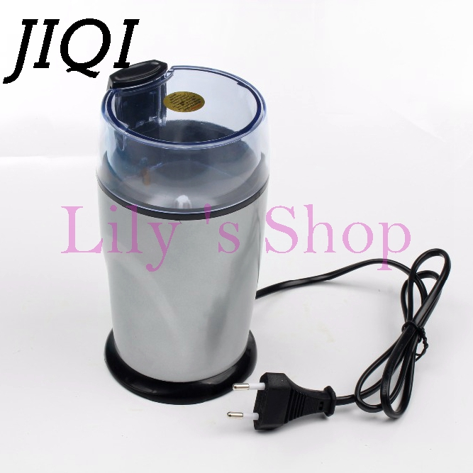 JIQI Electric Coffee grinder 220v-240V ELECTRICAL COFFEE herbs mill beans nuts grinding machine stainless steel blades Euro plug jiqi coffee grinder hand grinder household coffee beans grinding machine manual coffee machine grinder best gift for coffe lover