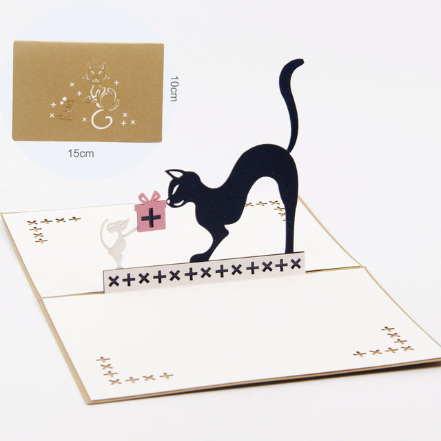 New Cute Creative 3D Pop Up Cards Valentine Lover Happy Birthday Anniversary Cat Greeting Bookmark Home Book Decor F901