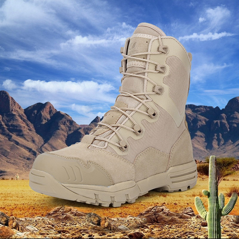 High-top Outdoor Waterproof Hiking Shoes for Men Desert Military Tactical Boots Combat Army Boots Hunting Shoes Big Size 45