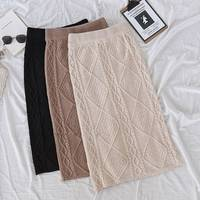 Winter knitted skirt twisted thick skirt