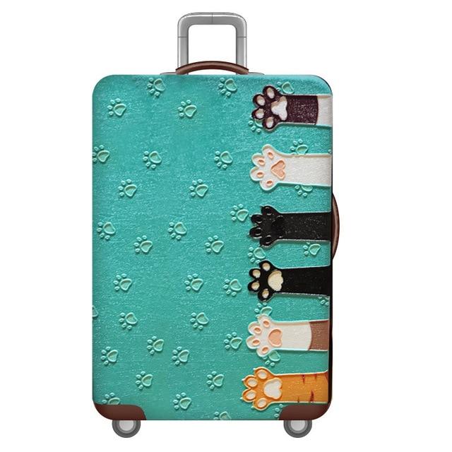 HMUNII карта мира, дизайнерский защитный чехол для багажа, Дорожный Чехол для чемодана, эластичные пылезащитные Чехлы для 18-32 дюймов, аксессуары для путешествий - Цвет: Cat claw
