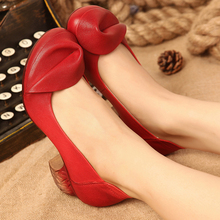 2017 Retro Handmade Women Shoes Pumps Genuine Leather Chunky Heels Round Toe High Heels