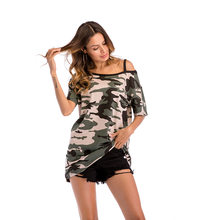 long sleeve shirt women off the shoulder tops plus size clothing summer  camouflage tees tops oversized 1bea28c71425